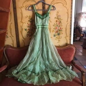 🌙Vintage 1960s Green Prairie Bohemian Dream Dress